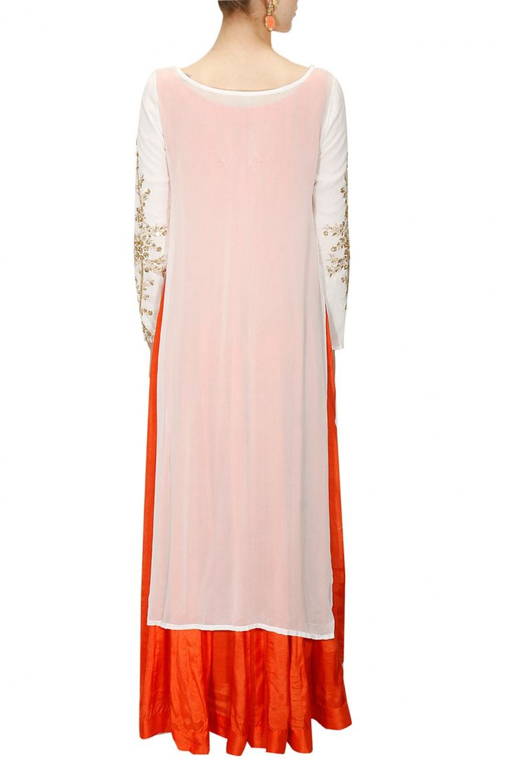 PRATHYUSHA GARIMELLA Orange plain anarkali with white gold embroidered kurta available only at Pernia's Pop-Up Shop.
