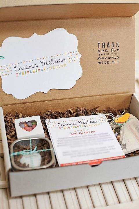 great box: Cute Packaging, Photography Packaging, Corina Nielsen, Client Gifts, Stamps, Photography Business, Gifts Boxes, Branding Ideas, Packaging Ideas