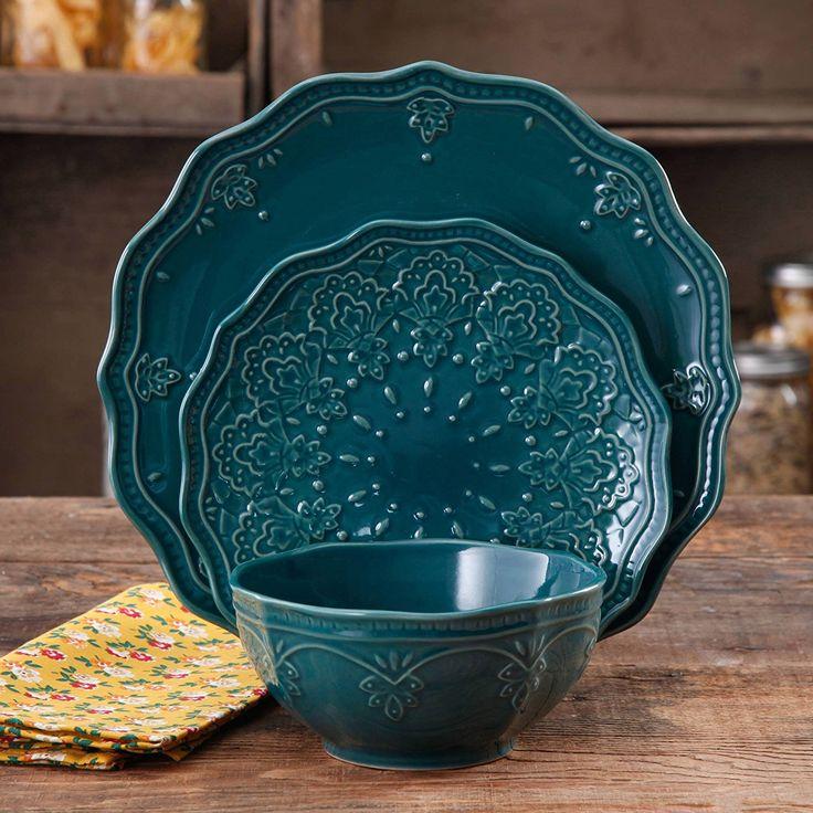 Amazon.com | Farmhouse Lace Dinnerware Set, 12-Piece, Ocean Teal (Ocean Teal): Dinnerware Sets