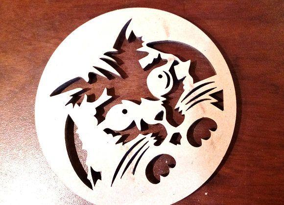 posa vaso de gato con botas en madera corte laser