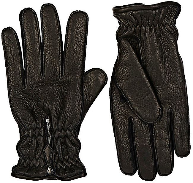 Barneys New York Men's Grained Deerskin Gloves-BLACK