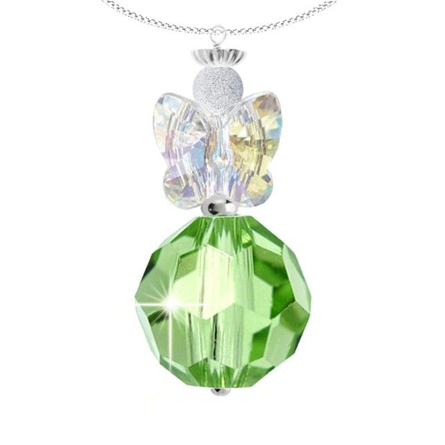 Enchanting sterling silver Swarovski crystal angel pendant.  This heavenly pendant features a radiant faceted 10mm peridot green Swarovski crystal and a sparkling pair of clear crystal angel wings. A sterling silver halo crown adds a delightful finishing touch to this unique design.  Each pendant is made to order and the angel measures approximately 3cm in length.  August Angel is set on a sterling silver chain with a 5cm extension.