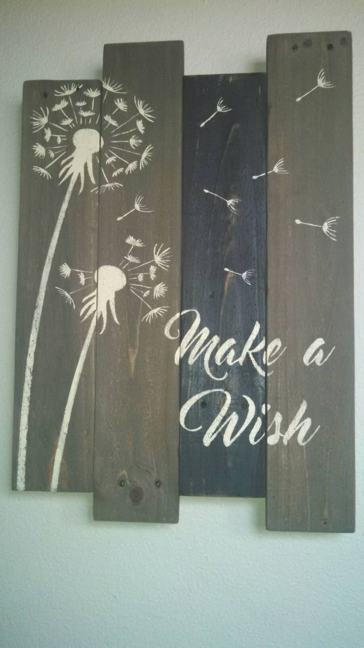 Dandelion Make A Wish Pallet Sign By Hidesertcreations On