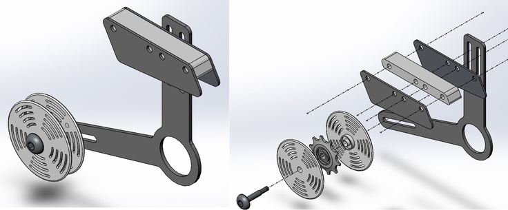 Chain device assembly and exploded assembly row machine