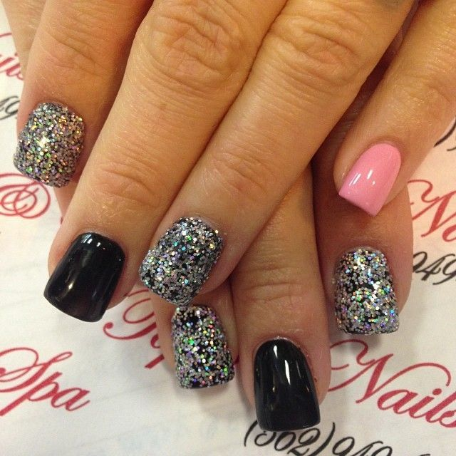 Nail Polish On Pinky Finger Meaning: Black, Silver Sparkle, Pink Accent Pinky Finger