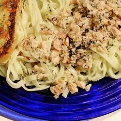 Linguine with Clam Sauce   Yummy! Added 1 cup of chicken stock (Better Than Bouillon) & used lemon pepper papadelle noodles. Cilantro too!
