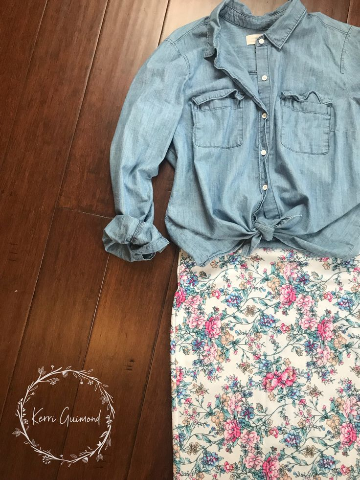 Over 150 LuLaRoe Outfit ideas posted! Featuring your basic chambray top and a Cassie Pencil Skirt! Come check them out at shopkerriguimond.com!!