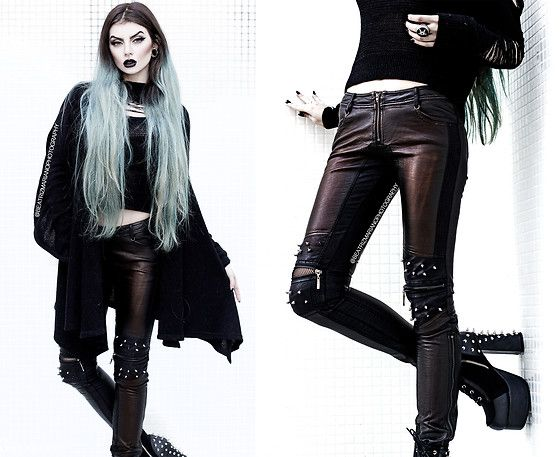 Get this look: http://lb.nu/look/8508913  More looks by Beatriz Mariano: http://lb.nu/beatrizmariano  Items in this look:  Punk Rave Store Vintage Leather Punk Pants With Awl Nail On Knee, The Church Of Sanctus Heavy Cotton Black Cardigan, Killstar Magi Pentagram Ring, Demonia Charade 100   #edgy #metal #punk #selfportrait #pale #pastel #witch #wicca #witchcraft