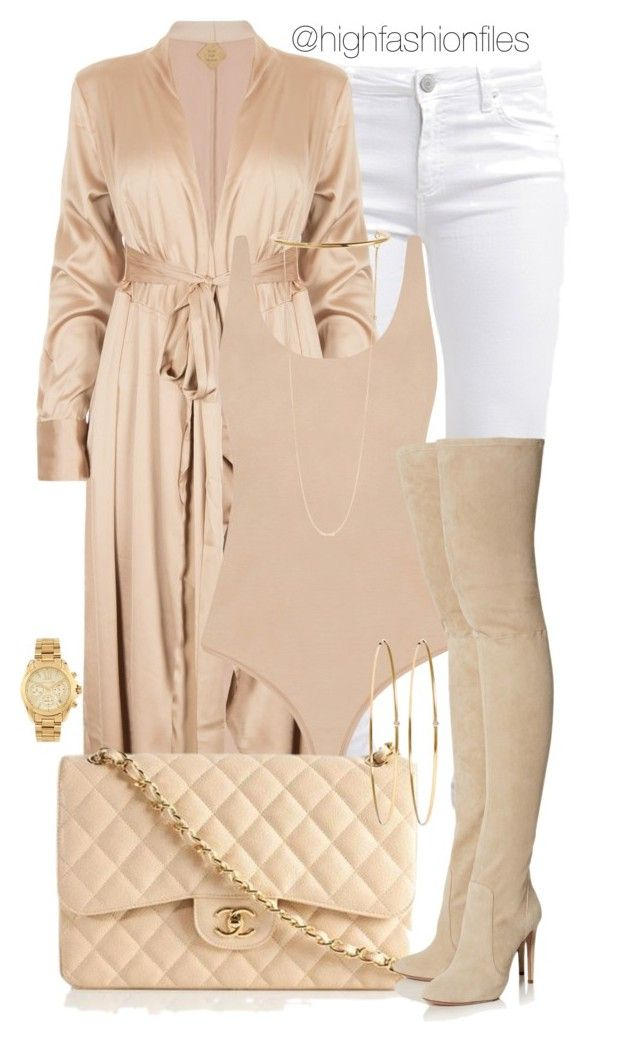 """Stay Nude"" by highfashionfiles ❤ liked on Polyvore featuring FiveUnits, Chanel, Aquazzura, STELLA McCARTNEY, Jennifer Meyer Jewelry and Michael Kors"
