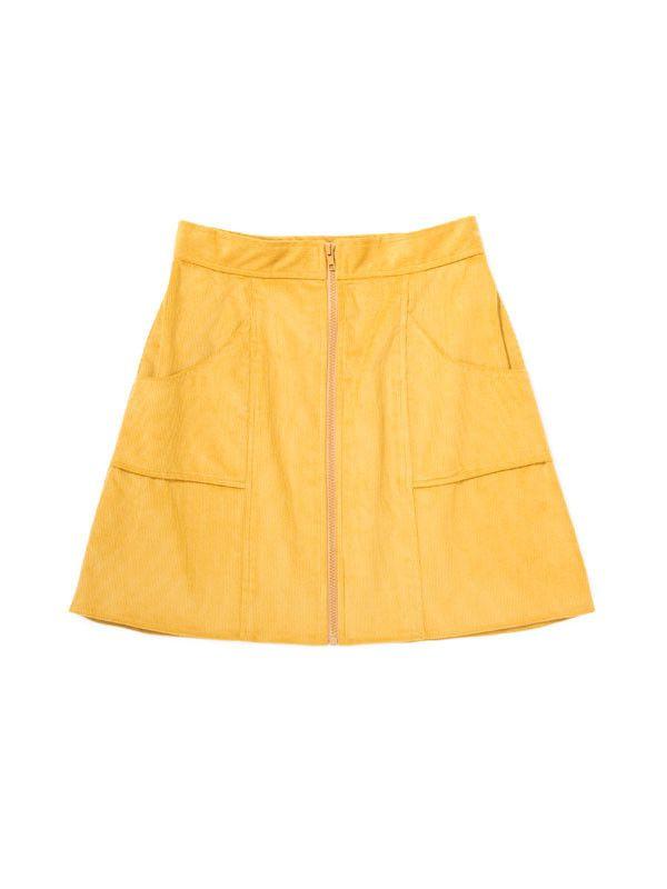 Zip Downing Skirt / Yellow Corduroy   IGWT NYC