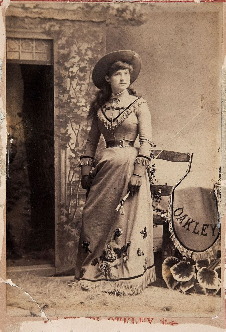 Sharpshooter Annie Oakley, is shown here, the summer before she sailed for England with Buffalo Bill's Wild West.