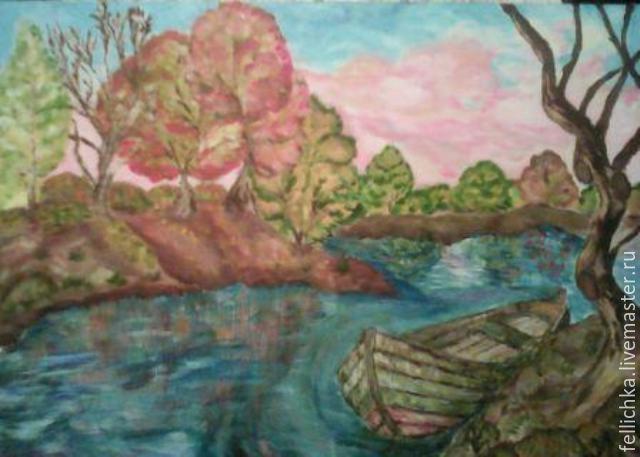 Купить Лодочка - лодочка, пейзаж, акрил, озеро, остров, осень, бежевый, краски акрил