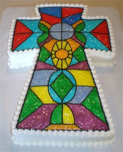Stained Glass Cross - Single layer white cake; iced with buttercream and then covered with colored piping gel for the stained glass.