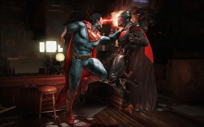 Télécharger fonds d'écran Batman vs Superman, en 2017, de jeux, de super héros, de gameplay, de l'Injustice 2