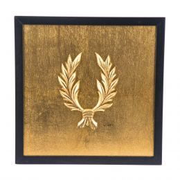 Handmade Wall or Table Laurel Wreath Gold Patinated, Framed 11.8'' (30cm)