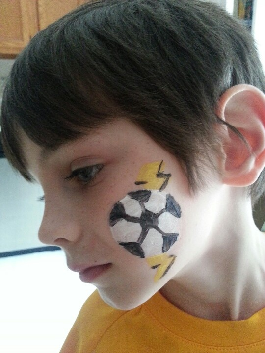 Soccer Ball With Lightning Bolt Face Paint Soccer