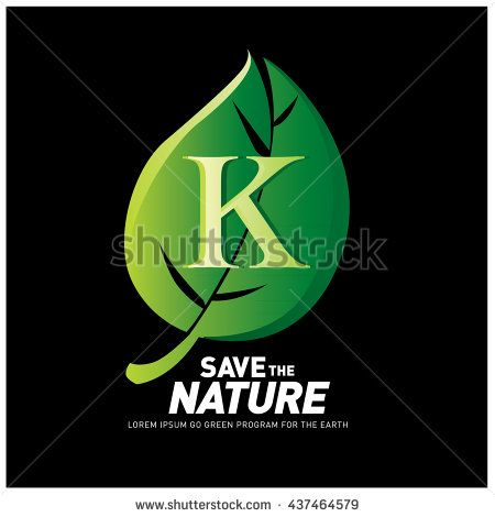 Letter K vector logo and icon save the nature. Go green poster design. Ecology campaign publication - stock vector