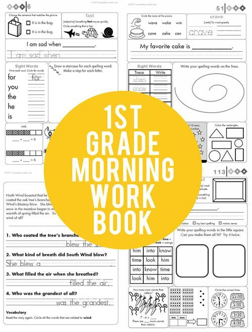 180 page 1st grade common core aligned morning work book- this post outlines and explains the whole thing! http://www.secondstorywindow.net/home/2013/01/1st-grade-common-core-aligned-morning-work-1.html