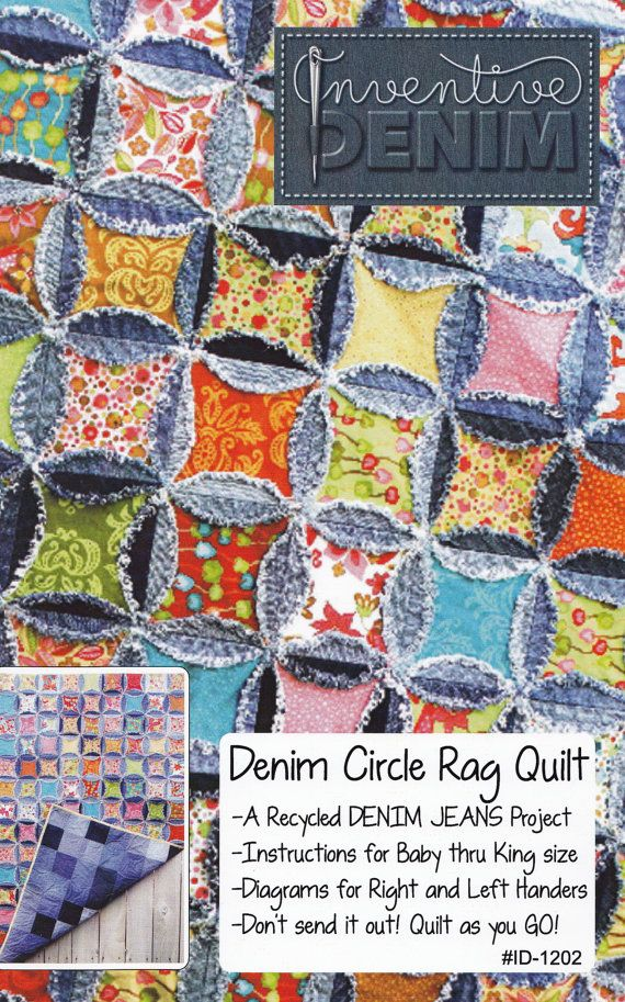 PATTERN- Denim Circle Rag Quilt pattern UPDATED (use your Recycled Denim Jeans)