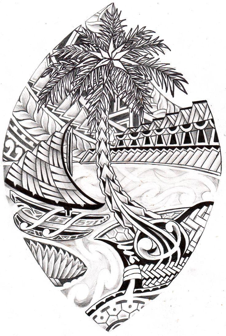 Ancient Hawaiian Symbols Guam tribal seal color...