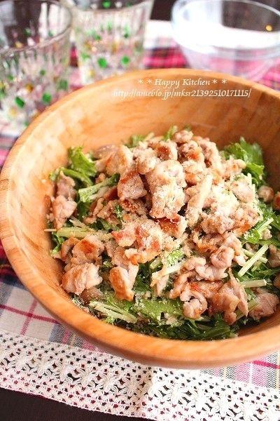 カリカリ豚と水菜のツナマヨポンチーズサラダ*と、夏にオススメレシピ ...