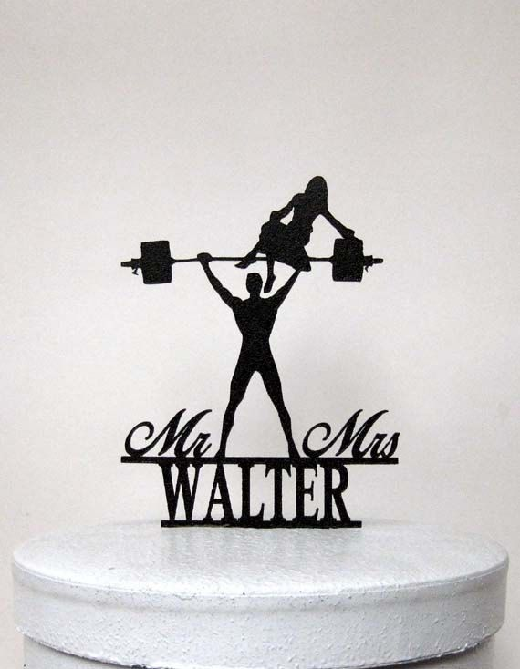 Wedding Cake Topper - Your Man is Srong! Weight lifting Groom silhouette with Mr & Mrs REYNOLDS + Upgrade shipping 8 business days