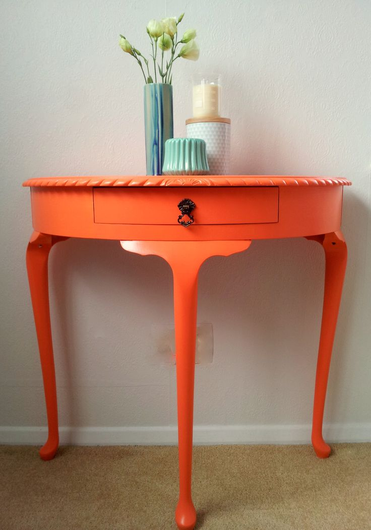 Bright and Bold half round hall table.