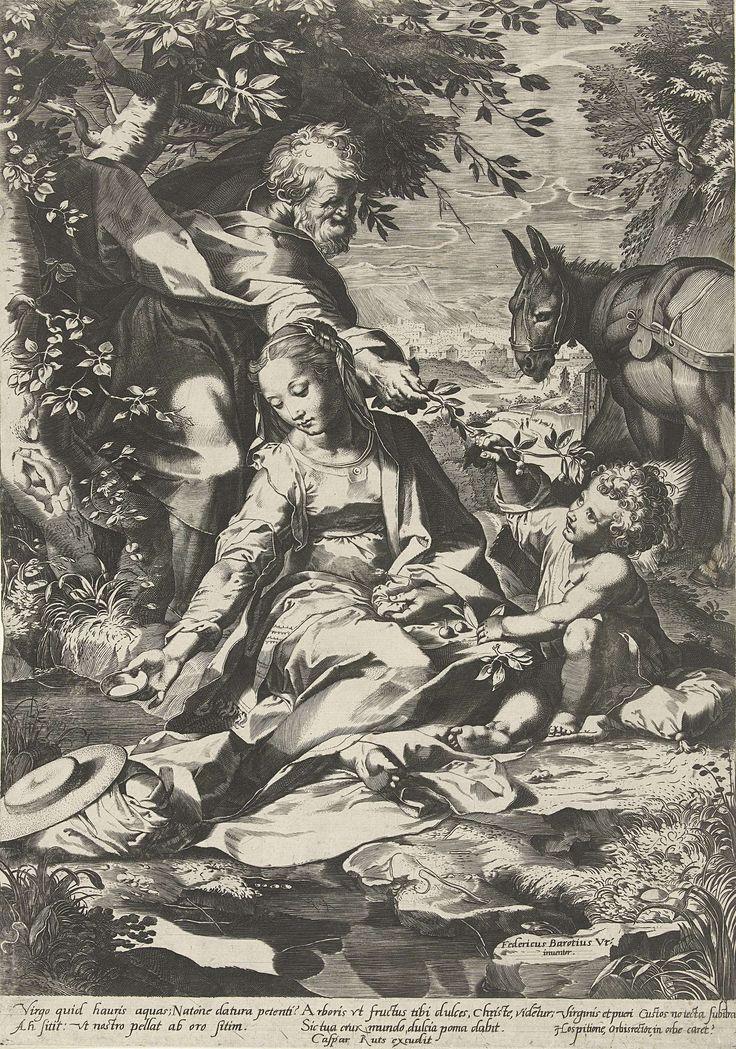 Cornelis Cort | Rust op de terugtocht uit Egypte, Cornelis Cort, Caspar Ruts, after 1575 - c. 1650 | Maria zit met het ca. drie jaar oude Kind aan de oever van een beek en houdt een kommetje in haar rechterhand. Achter haar Jozef die een tak met kersen aan het Kind geeft. Rechtsachter de ezel voor een heuvelachtig landschap. Onder de voorstelling een Latijns vers.