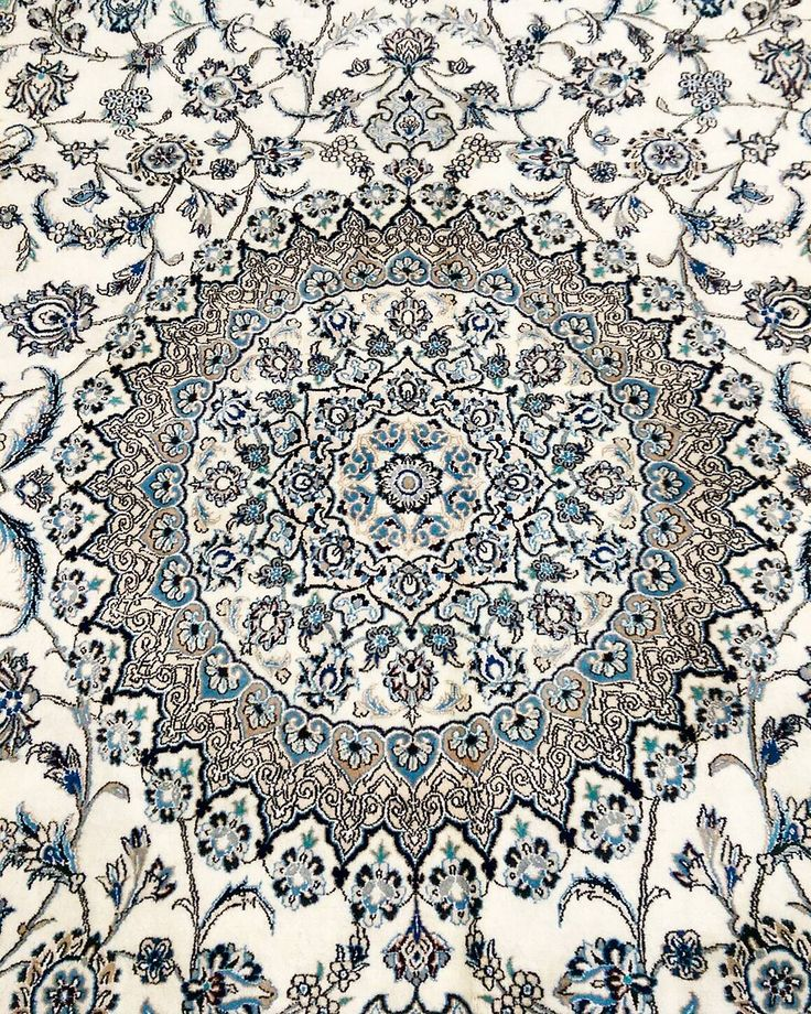 Silk inlay highlights the intricate dome design central medallion of this stunning Persian Nain.  #Persian #nian #silk #highlight #intricate #dome #design #stunning #persianrug #rug #rugs #carpet #carpets #decor #designs #traditional #ihavethisthingwithfloors #ihavethisthingwithrugs #Sydney #medallion #handmade #interiors #interiordesign #ruglove #ruglife