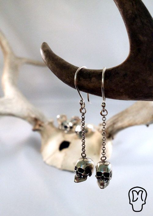 Sterling Silver Handmade Skull Earrings by DMJewels on Etsy, €59.00