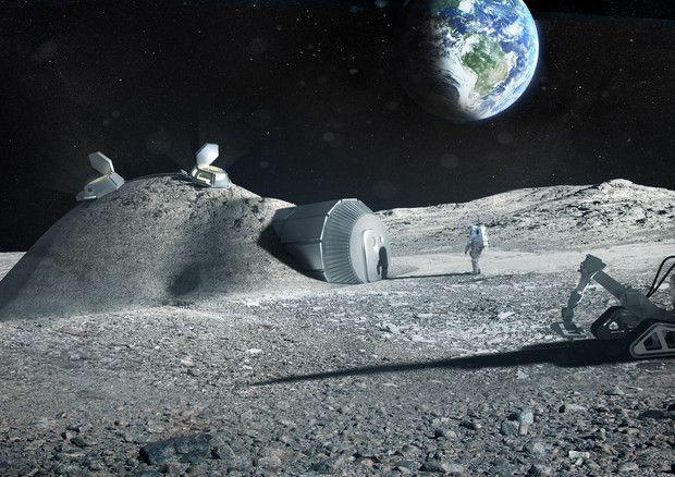 Rappresentazione artistica di una futura colonia sulla Luna (fonte: ESA/Foster + Partners) © Ansa