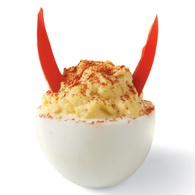 A true deviled egg! - Red bell pepper horns.
