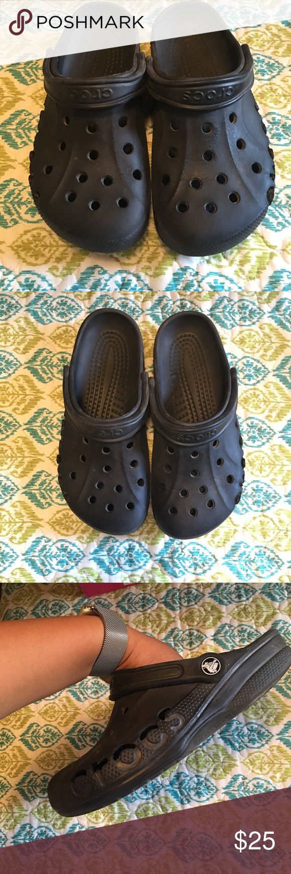"""Crocs Slippers Great pre owned condition. Color black with the side lettering cutouts. Size """"8"""" in women & """"6"""" in Men. crocs Shoes Sandals"""