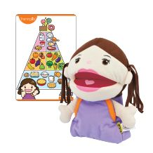 food pyramid, puppet and food cards to feed