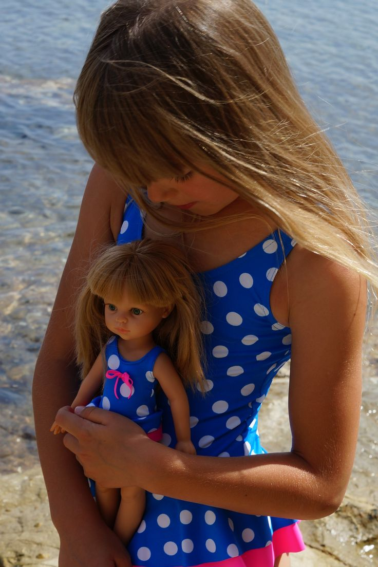 🍉🍉La Lalla bathing suit for girl and her doll. Custom doll with matched clothes and features. Unforgettable gift. #Doll #Girl #Summer #Puppe #Madchen #polka dotts