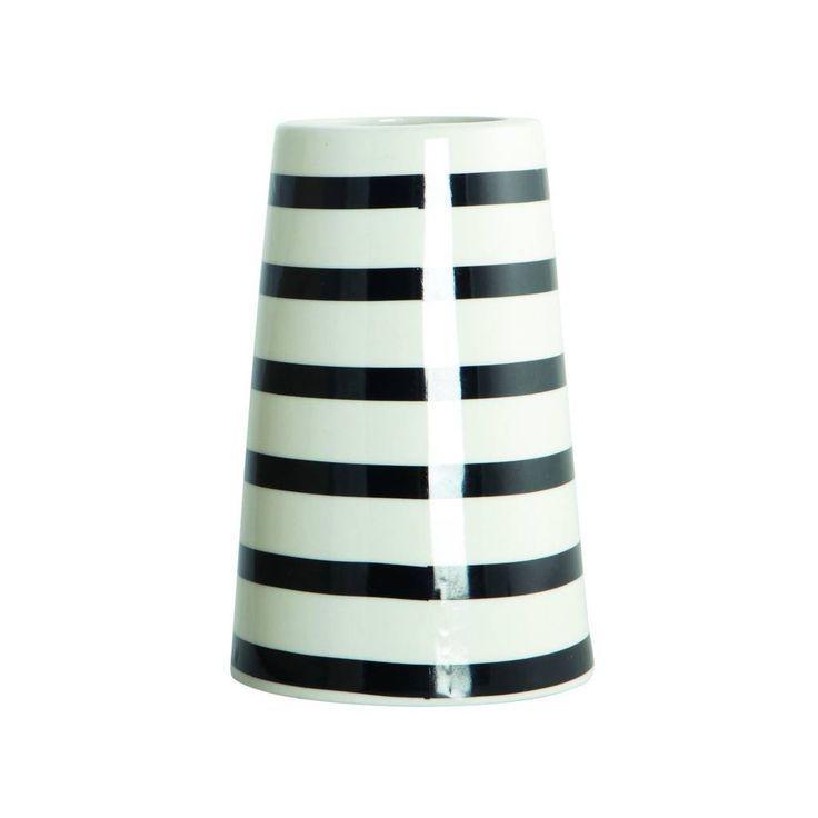 POTTEN EN VAZEN: Taps toelopende witte vaas met zwarte horizontale strepen