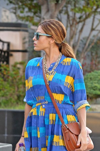 Eva Mendes in a Thakoon Addition Gathered Waist Dress and a Ralph Lauren Covered Lock Cartridge Bag:: Ralph Lauren, Eva Mendes, Cartridges Bags, Mendes Thakoon, Lauren Bags, Addition Gathering, Waist Dresses, Addition Waist, Thakoon Addition