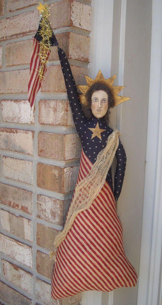 PRIMITIVE FOLK ART AMERICANA PATRIOTIC LIBERTY DOLL *NOTHING PLAIN BY JANE* #PrimitiveFolkArt