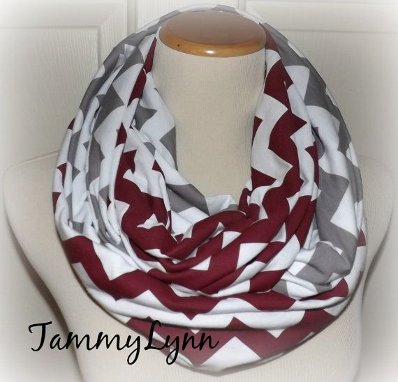 Maroon & Gray Chevron Infinity Scarf 2 Pair Team Colors Jersey Knit Infinity Scarves Game Day Accessories