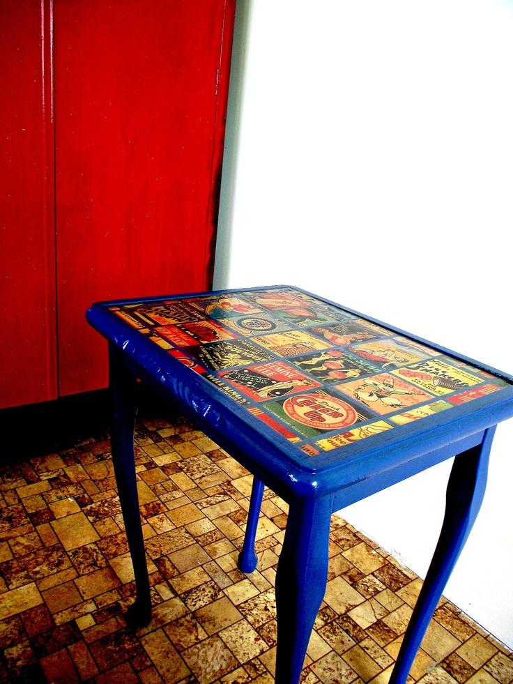 Vintage decoupage coffee table beetreevintageretro for Inspirational decoupage coffee table