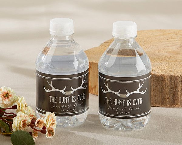 "When it comes to planning it all for your big day, it's the small details that make for a one-of-a-kind celebration. ""The Hunt is Over"" water bottle labels spice up refreshments at a rustic bridal sho"