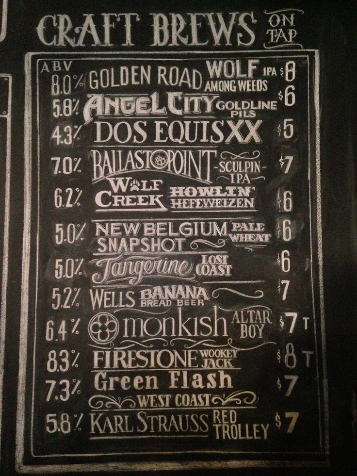 Current Draft Beer List Menu Design Beer Chalkboard Brewery