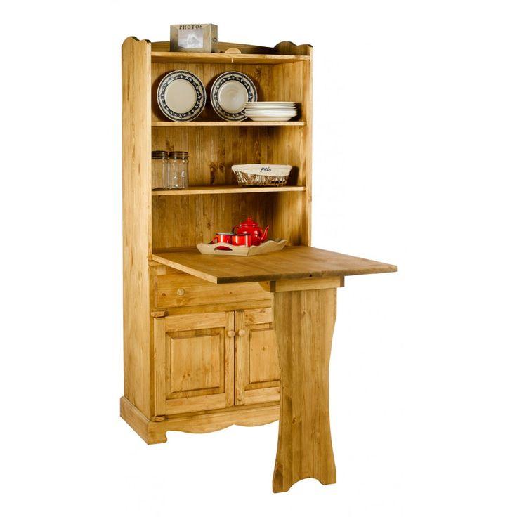 Table de berger rustique en pin 3 portes 1 tiroir grenier alpin