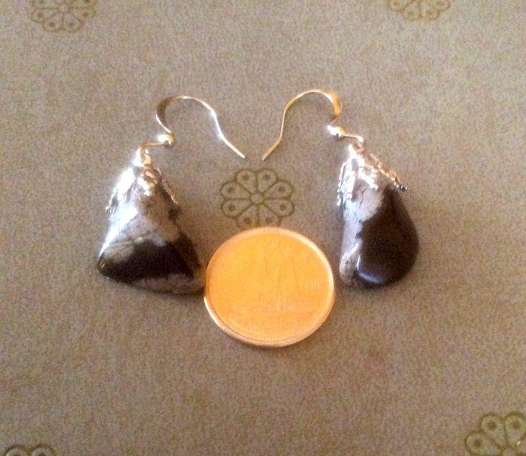 Boucles d'oreilles inox obsidienne flocon/Boucles d'oreilles en pierre naturelle/crochets en acier inoxydable/Obsidienne des neiges/bijoux de la boutique CreationsManiTou sur Etsy
