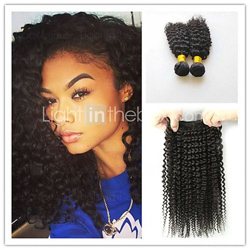 3Pcs/Lot Kinky Curly Hair Weaves 100% Human Afro Kinky Curly Weaves Brazilian Virgin Hair Weft Kinky Curly - USD $87.00