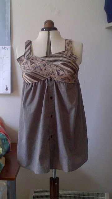 Recycled Fashion: Re-fashioned Necktie and Upcycled Mans Shirt Dress