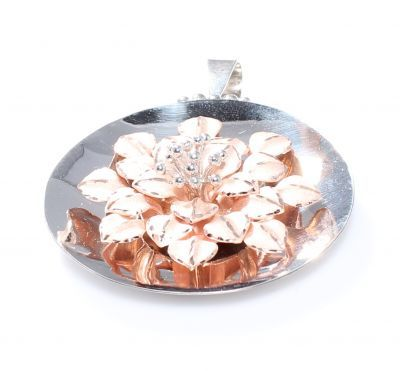 925 Ayar Gümüş,roz renkli çanaklı çiçek model kolye ucu