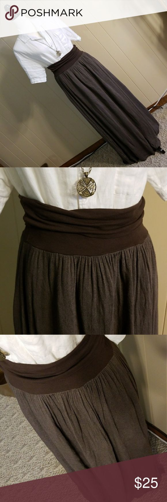 "NWT Tempo Medium long chocolate brown skirt Soft and flowy, chocolate brown with an underskirt. Size medium. Bought for a wedding, but ended up wearing something else! Stretch elastic waist band that is a total of 7"" in length and can stretch from 30"" to 36"" measurements are approximate Tempo Paris Skirts Maxi"