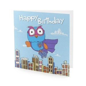 Superhoot Birthday Card. Say 'Happy Birthday' with Superhoot! Features a Superhoot flying design. $2.99