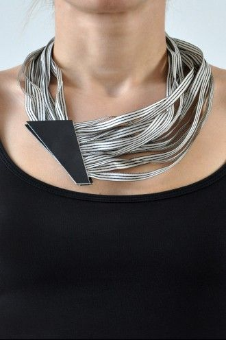 Aumorfia | POLYGON| leather & ribbons necklace